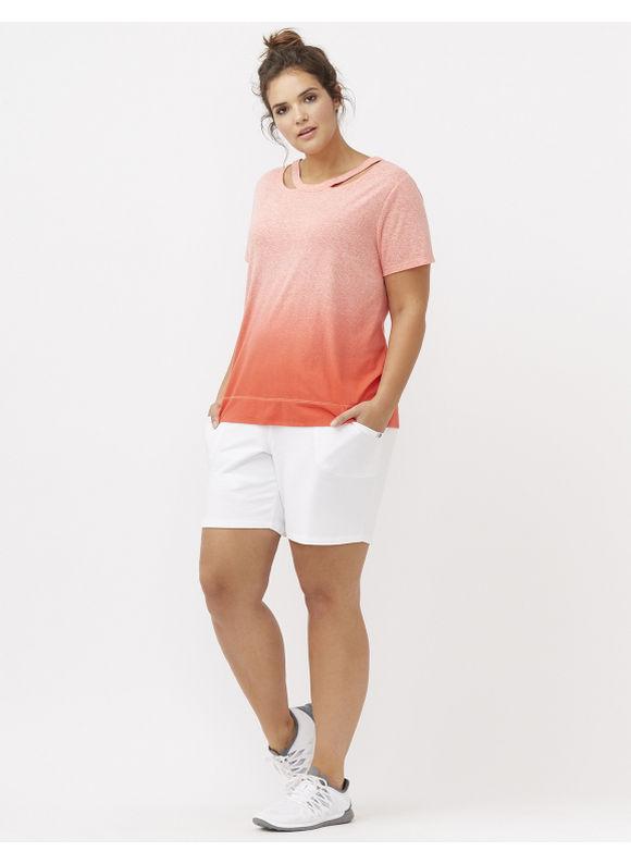 Lane Bryant Plus Size Dip dye tee with cut outs Size 14/16, red - Lane Bryant ~ Trendy Plus Size Clothes