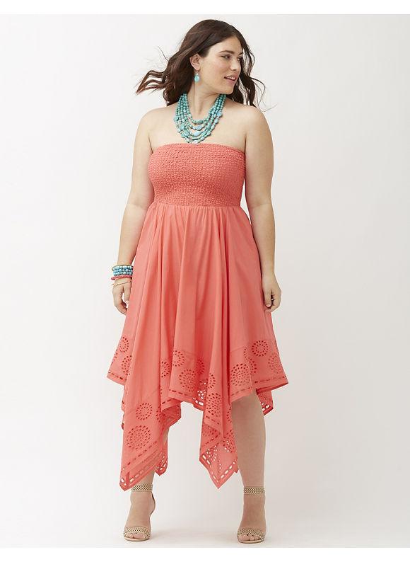 Plus Size Smocked tube dress Lane Bryant Women\'s Size 22/24, Coral ...