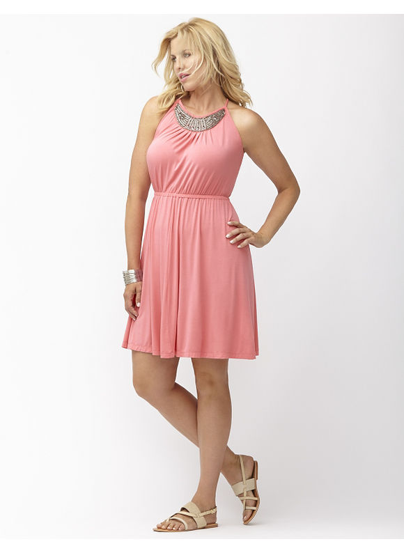 Plus Size Embellished halter dress Lane Bryant Women's Size 14/16, Coral