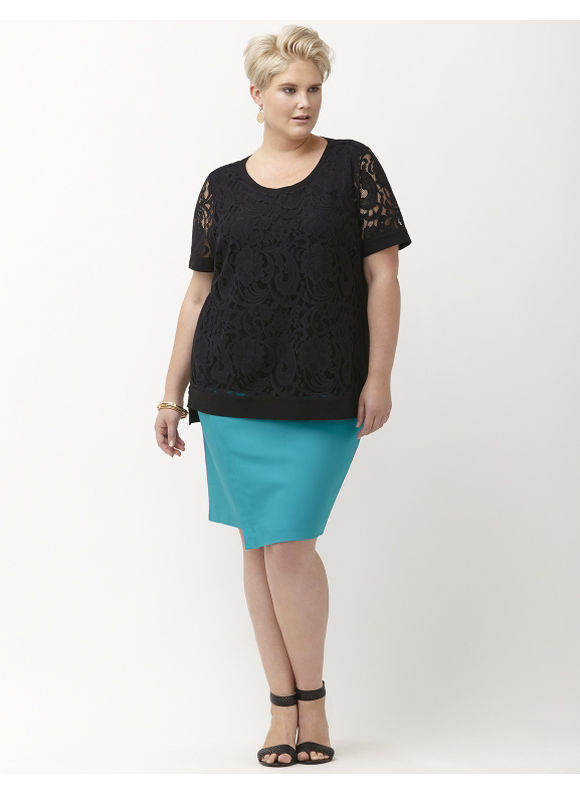 Lane Bryant Plus Size Jacqueline tunic by Lysse Size 2X, black