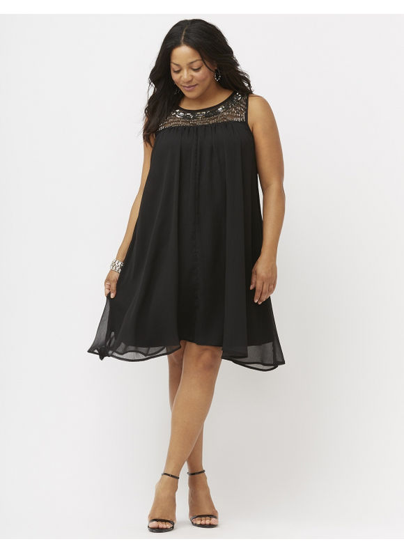 Plus Size Embellished swing dress Lane Bryant Women's Size 22/24, black