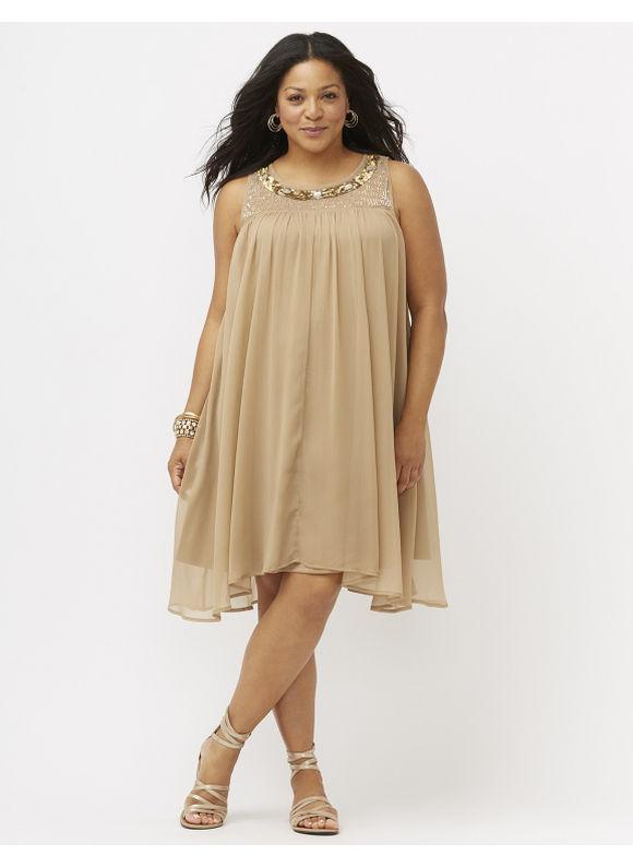 plus size embellished swing dress lane bryant women's size 18/20