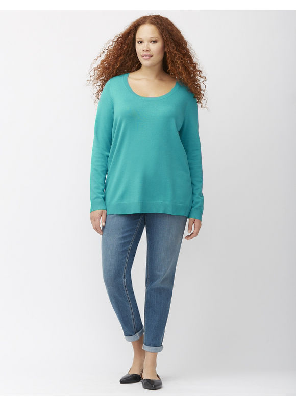 Lane Bryant Plus Size Easy scoop neck sweater Size 14/16, blue
