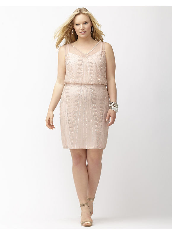 Plus Size Beaded blouson dress by Adrianna Papell Lane Bryant Womens Size 20 Blush $260.00 AT vintagedancer.com