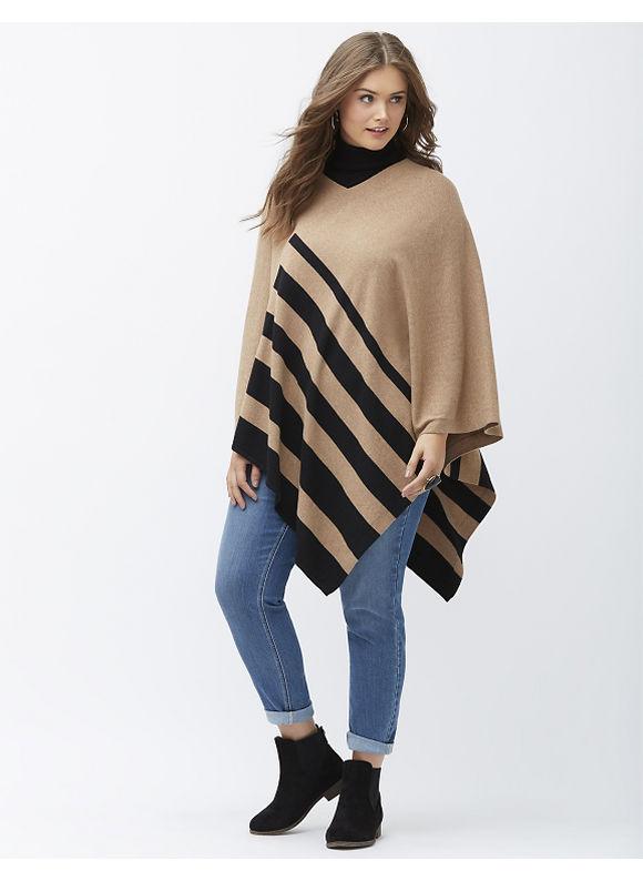 Lane Bryant Plus Size Striped poncho, Women's, Size: 14/20, Beige