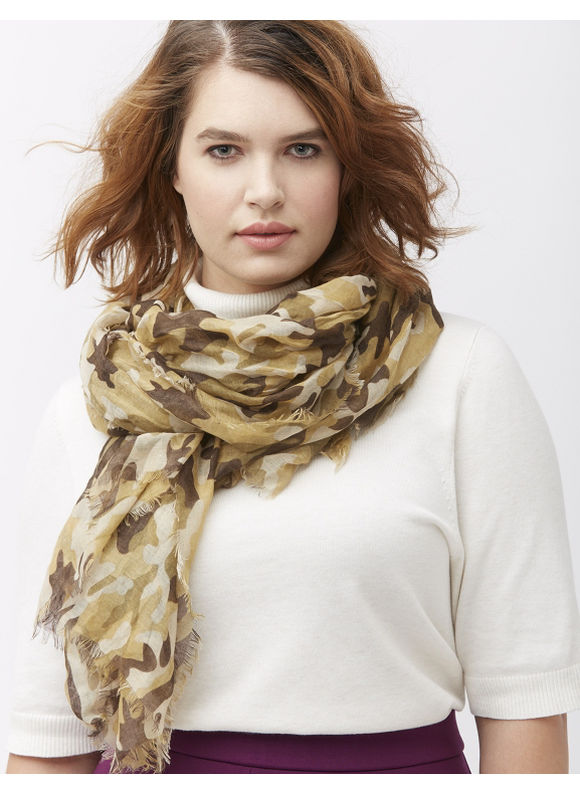 Lane Bryant Plus Size Camo oblong scarf Size One Size, Chive, veiled rose - Lane Bryant ~ Trendy Plus Size Clothes