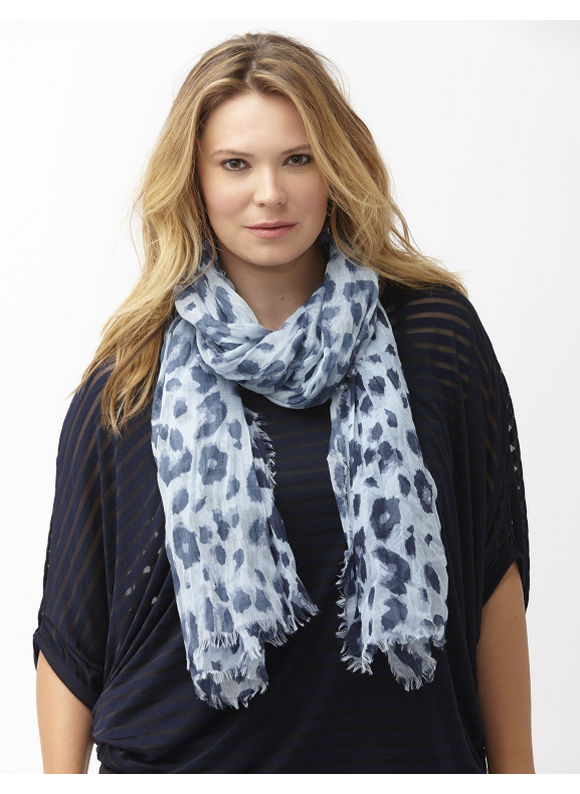 Lane Bryant Plus Size Animal print oblong scarf Size One Size, Black, Blue Slate - Lane Bryant ~ Trendy Plus Size Clothes