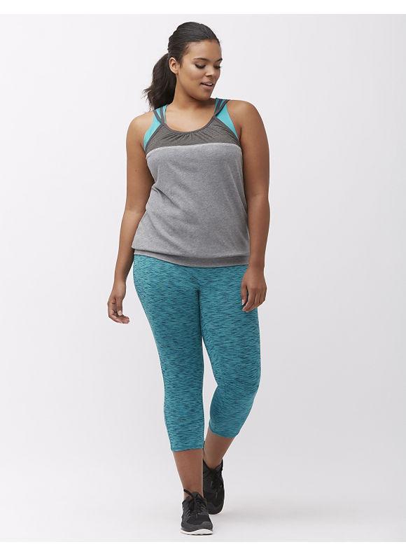 Lane Bryant Plus Size Wicking active capri legging, Sporty Turquoise