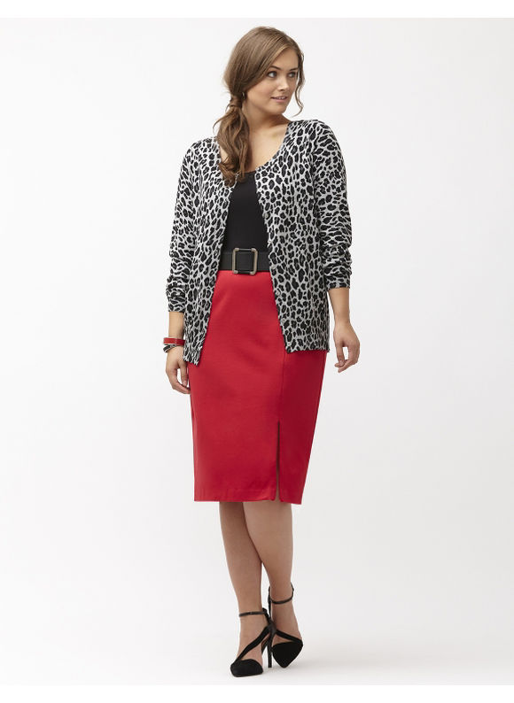 Lane Bryant Plus Size Ponte midi pencil skirt Size 14, red