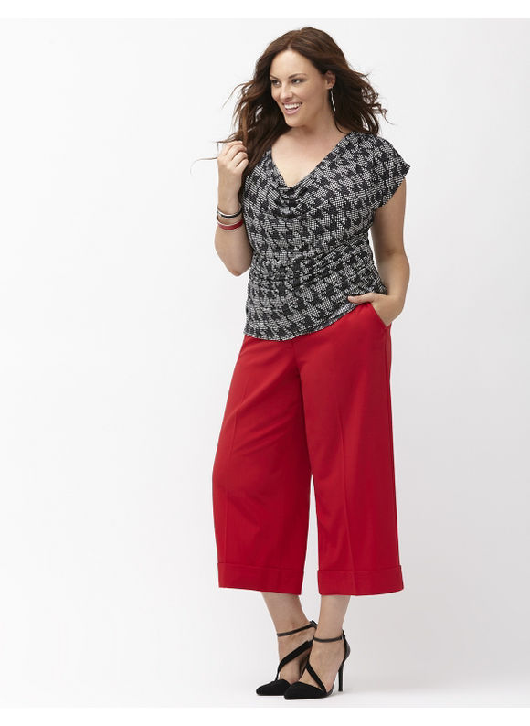 Lane Bryant Plus Size Lena Tailo Stretch wide leg crop Size 14, red