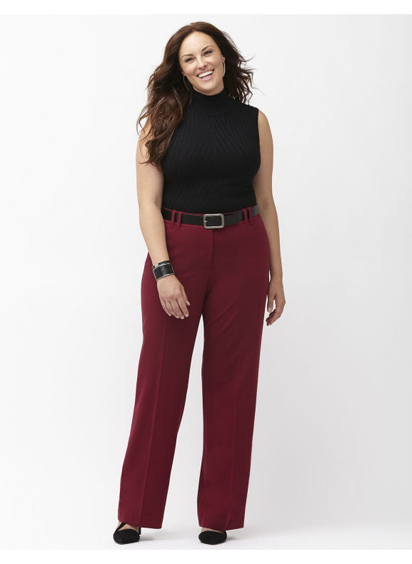 Lane Bryant Plus Size Sophie trouser with Tighter Tummy Technology, Women's, Size: 28, Maroon