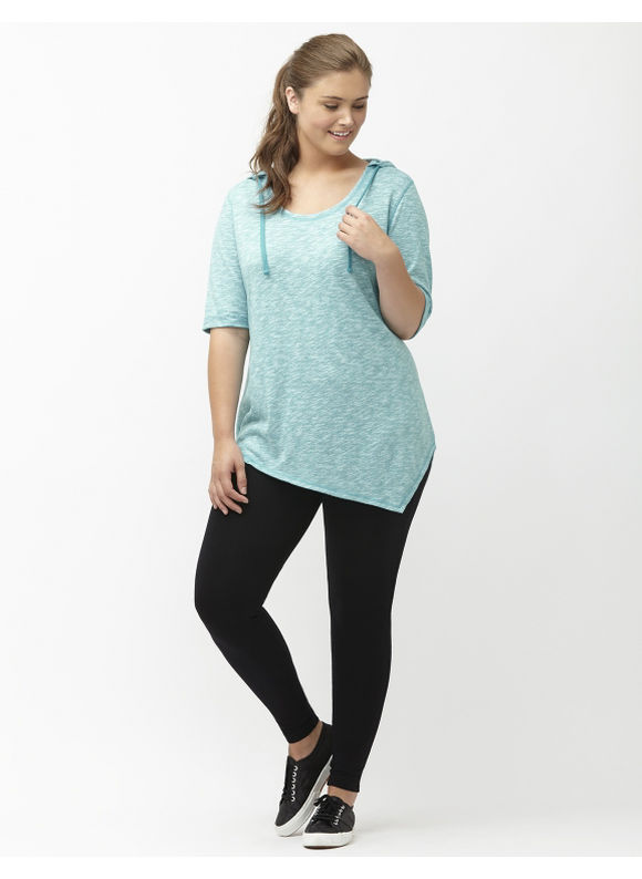 Lane Bryant Plus Size Asymmetric hacci hoodie Size 26/28, Sporty Turquoise - Lane Bryant ~ Trendy Plus Size Clothes