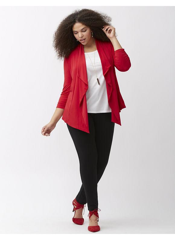 Lane Bryant Plus Size Simply Chic matte jersey draped jacket, Women's, Size: 26/28, Red