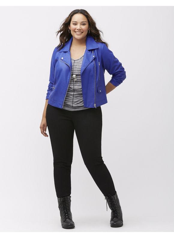 Lane Bryant Plus Size Moto jacket with hardware, Women's, Size: 14/16,18/20,22/24,26/28, Black