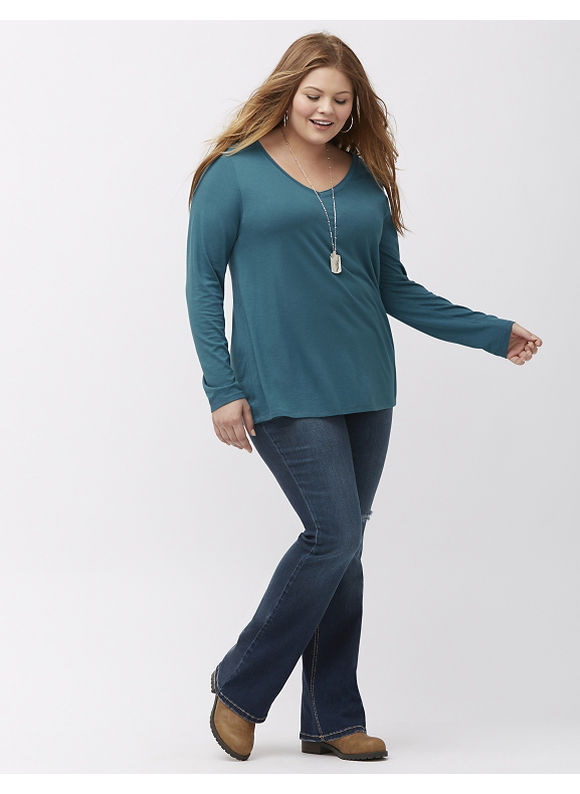 Lane Bryant Plus Size Essential V-neck long sleeve tee, Blue