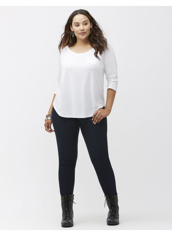 Lane Bryant Plus Size 34 sleeve pocket tee Size 14/16,18/20,22/24,26/28, White, BLACK, CLASSICCAMEL, RIVIERA BLUE, VENETIAN RED - Lane Bryant ~ Trendy Plus Size Clothes