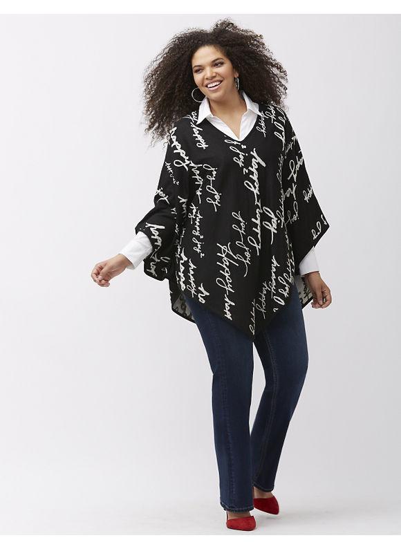 Seven7 Plus Size V-neck poncho by Melissa McCarthy, Women's, Size: 1X, Black