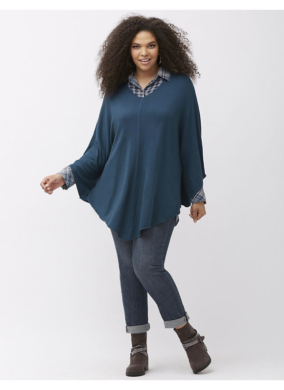 Plus Size V-neck poncho by Melissa McCarthy Seven7 Lane Bryant Women's Size 1X,2X,3X, purple