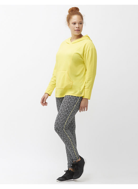 Livi Active Plus Size Wicking fleece pullover hoodie, Canary