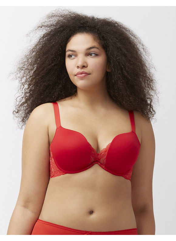 Cacique Plus Size Cut-away lace plunge bra,  Women' Size: 44D,  Chinese Red plus size,  plus size fashion plus size appare