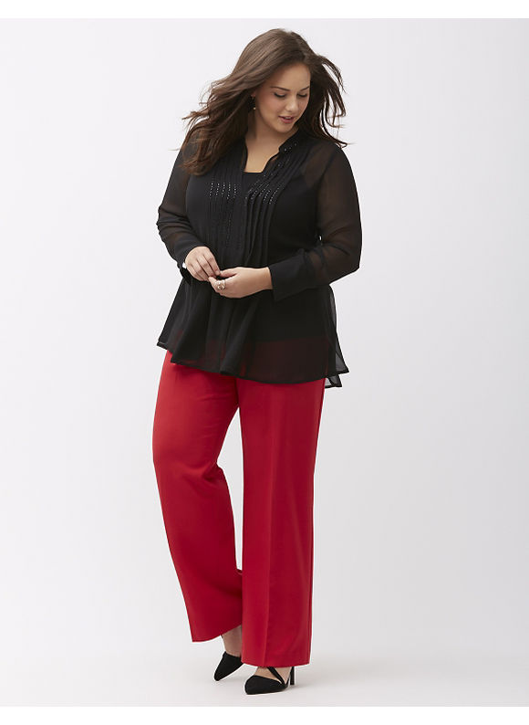 Lane Bryant Plus Size Lena Trouser with Tighter Tummy Technology, Women's, Size: 14,18,20,22,24,26,28, Classic Camel, Rich Burgundy