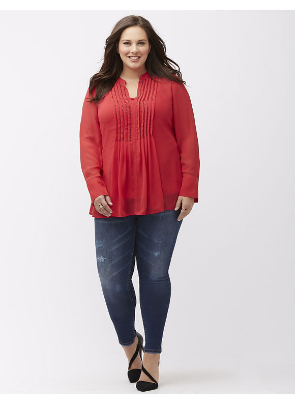 Lane Bryant Plus Size Embellished pintuck tunic, Red