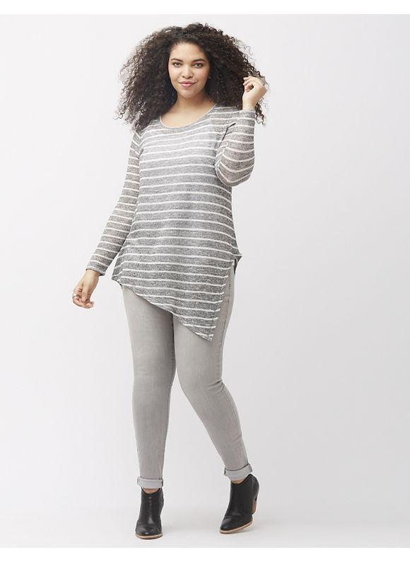 Lane Bryant Plus Size Asymmetric hacci tunic, Medium Heather Gray With Stripe