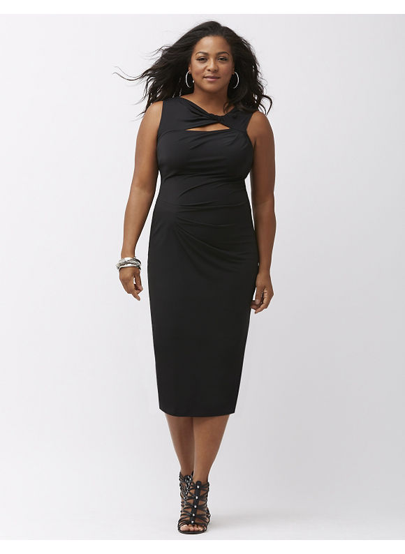 Lane Bryant Plus Size Slimming twist-neck sheath dress, Black