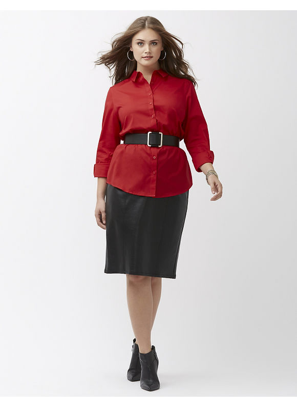 Foxcroft Plus Size Wrinkle-free shirt by, Women's, Size: 18, Red