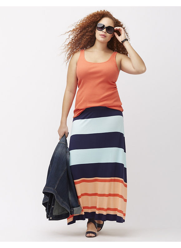 Lane Bryant Plus Size Striped maxi skirt, Horizontal Navy Stripe