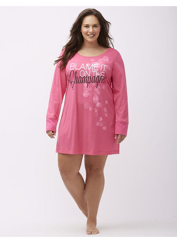 Cacique Plus Size New Year's graphic sleepshirt,  Pink