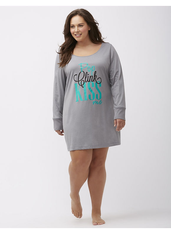 Cacique Plus Size Long sleeve graphic sleepshirt, Gray