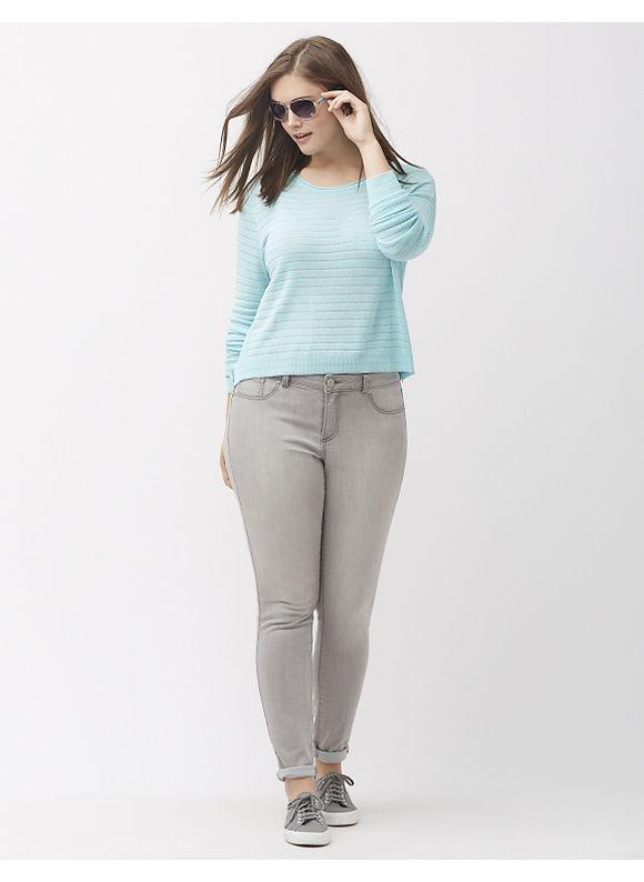 Lane Bryant Plus Size Metallic stripe cropped sweater, Women's, Size: 14/16, Pearl Aqua