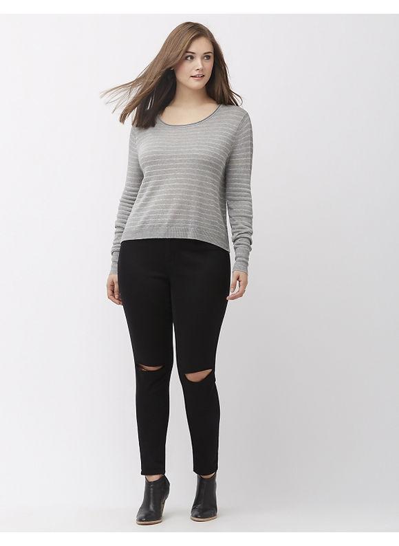Lane Bryant Plus Size Metallic stripe cropped sweater, Women's, Size: 18/20, Gray