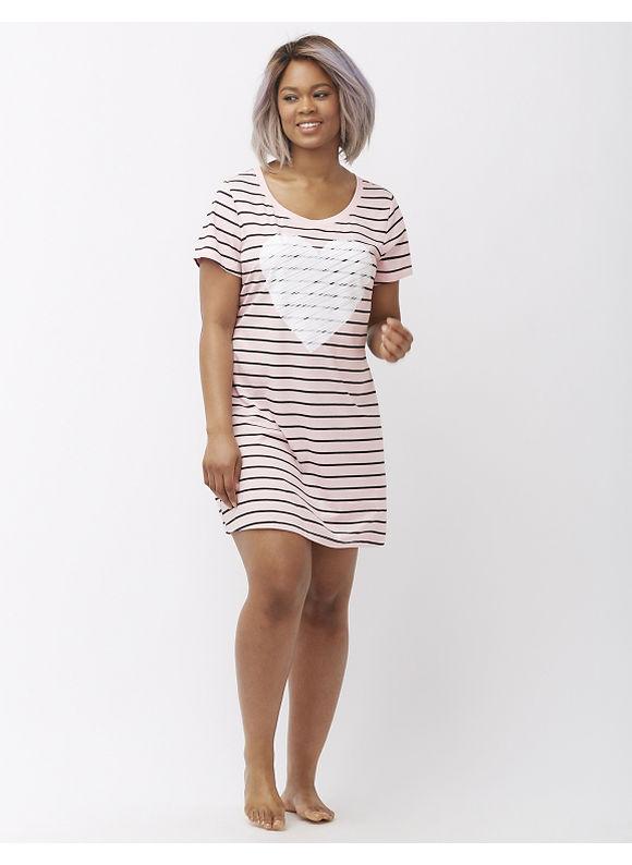 Cacique Plus Size Printed sleepshirt, Chalk Pink Stripe
