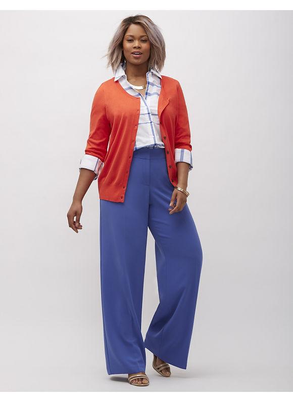 Lane Bryant Plus Size Infinite Stretch crepe wide leg pant,  Women' Size: 16P,  Vibrant Blue plus size,  plus size fashion plus size appare