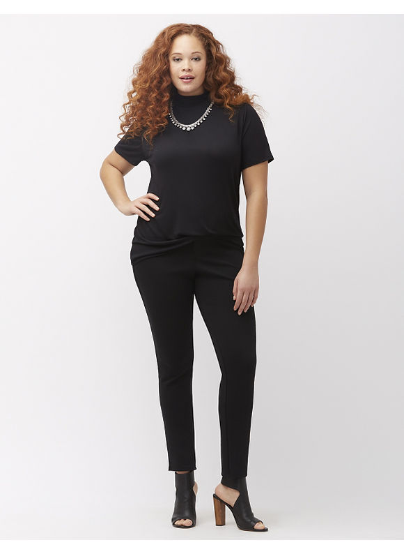 Lane Bryant Plus Size Mock Neck Tee, Black