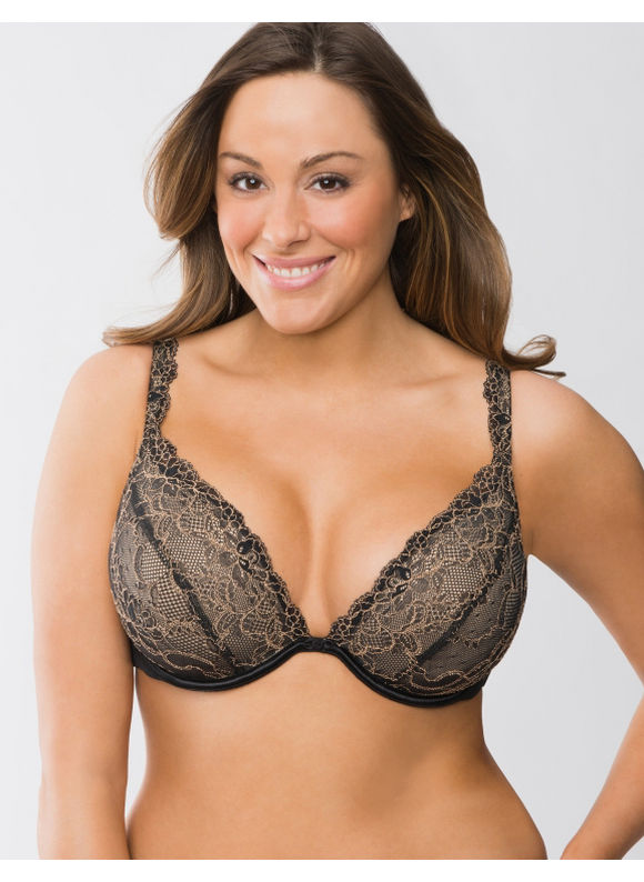Lane Bryant Passion lace plunge bra - Women's Plus Size/Black - Size
