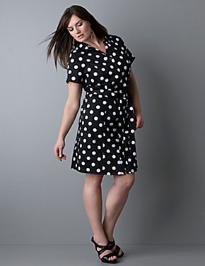 Button front polka dot shirt dress