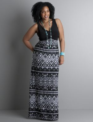 Twist top printed maxi dress