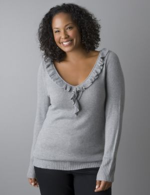 V-neck ruffle sweater