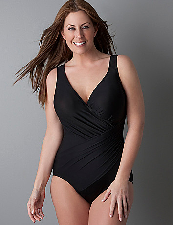 Miraclesuit® one piece plunge swimsuit in sizes 16 plus