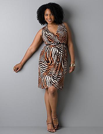 Belted Animal Print Faux Wrap Dress Lane Bryant