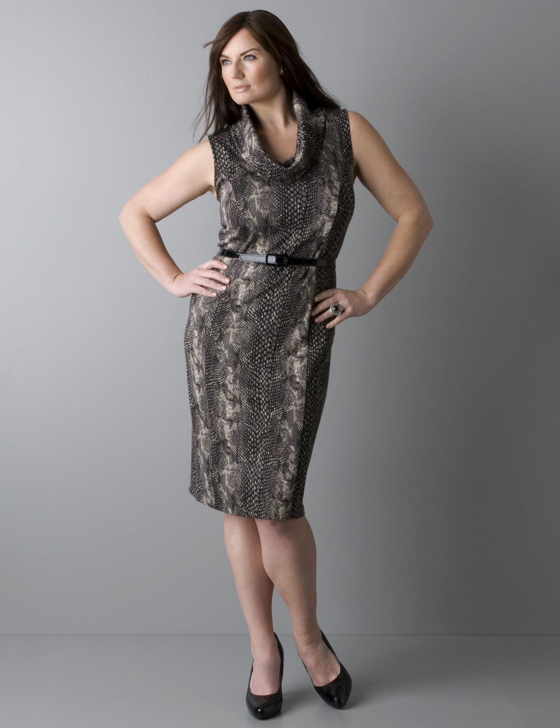 Plus-Size Ponte knit python print dress