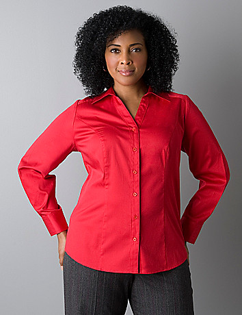 Womens long sleeve stretch woven shirt