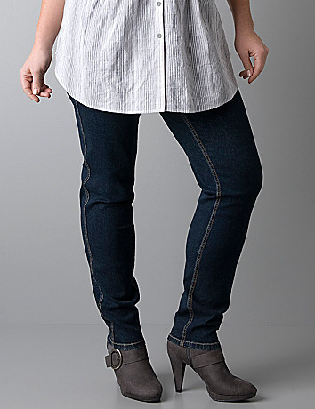 Plus size woven denim pull-on jeggings
