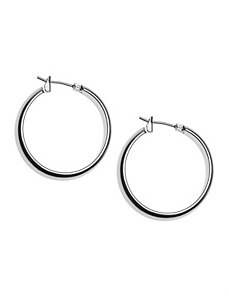 Thick silvertone hoop earrings by Lane Bryant