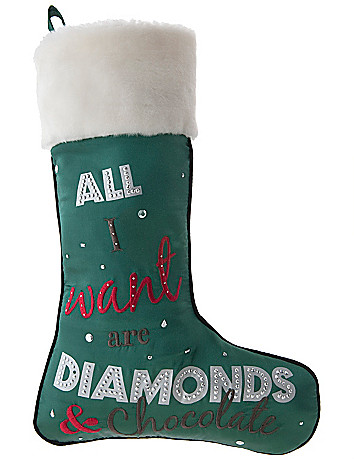 """All I Want Are Diamonds & Chocolate"" stocking"