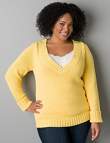 Rolled cuff sweater by Lane Bryant