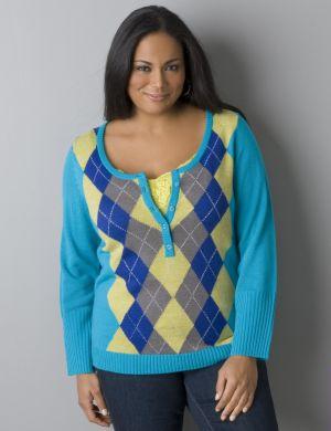 Argyle henley sweater
